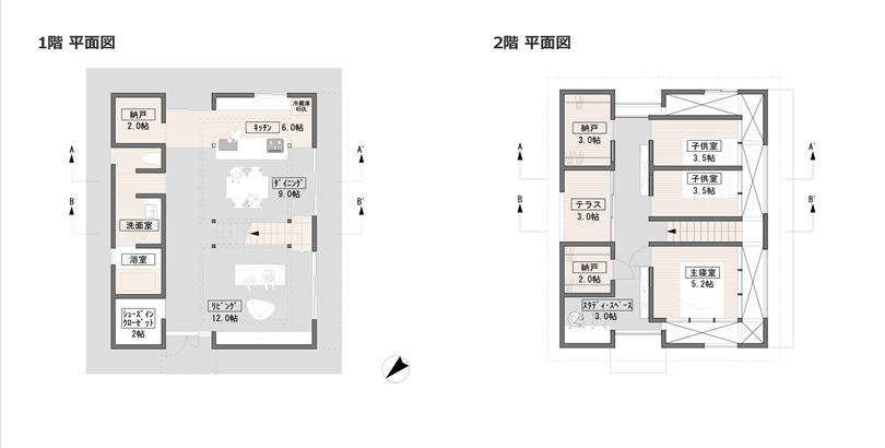 1階平面図と2階平面図