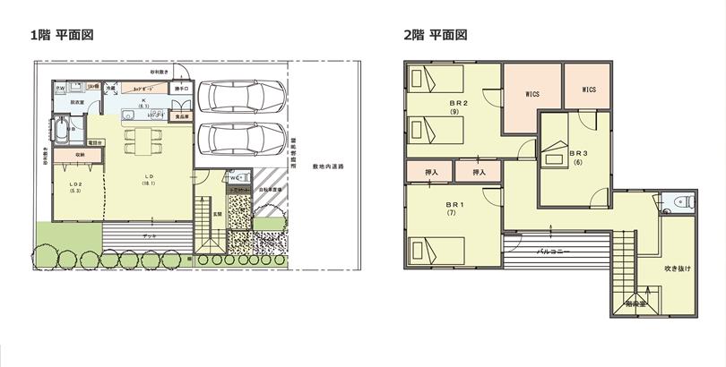 1階と2階の平面図